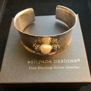Silpada RARE silver & pearl cuff bracelet